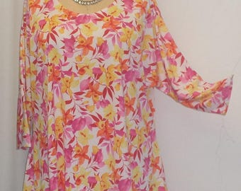 Plus Size Top, Coco and Juan, Lagenlook, Plus Size Tunic, Pink Floral Print, Knit Drape Side, Tunic Top, One Size, Bust  to 60 inches