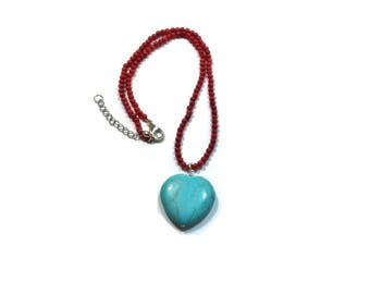 Red Sea Coral Necklace , Turquoise Heart Pendant , Turquoise Heart Shaped Gemstone Pendant Necklace , Turquoise And Coral Necklace