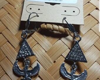 Antique Silver Goddess Maat Bling earrings