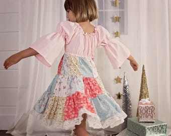 Girls Patchwork Dress - Holiday Dress - Christmas Dress - Modern Christmas Dress - Pink Blue Dress - Peasant Dress - Festive Party Dress