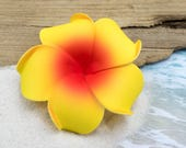 Hair Clip, 3 inch, Yellow and Orange, Floral Hair Clips, Hawaii Hair Clips, Foam Flowers