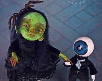 EXTRA SALE!!- Confianzzcha & Chieggo - art dolls. witch doll, eyeball doll, creatures, ooak pure sculpt doll, witches, halloween doll