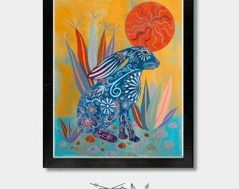 Rabbit Print, Solar. Rabbit, Bunny, Rabbit Print Art, Bunny Rabbit, Arizona, Phoenix, Tucson, Southwestern Art, Mexican, Mexican Folk Art