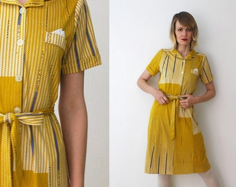 70s 80s mustard dress. patterned midi dress. belted shirt dress - small to medium