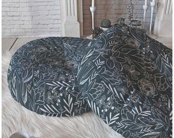 Navy Blue Floral Floor Pillow // Round and Square Sizes // Botanical Sketchbook Design // Flowers // Modern Living // Boho // Dorm Decor