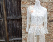 Altered Women's Lace Tunic, Flower Embellished Magnolia Pearl Style- Large, Lace Shrug, Shabby Chic Jacket, Romantic Top, White & Peach Lace
