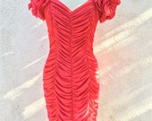 Vintage Steppin Out sexy ruched red dress size 11