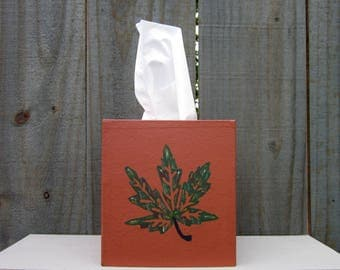 Tissue Cover, Home Decor, Fall Leaf, Autumn Colors, Tissue Box Cover, Boutique Size Tissues, Hand Painted, Tissues