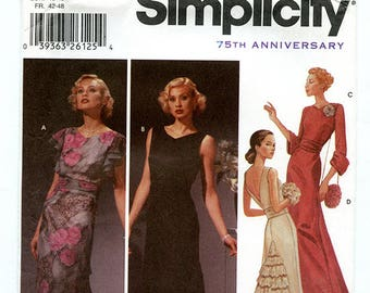 Simplicity 5876 Women's 20s 30s Style Full Length Evening Gown with Cumberband and Bag - Sizes 14 16 18 20 Bust 38 40 42 44