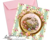 Happy Easter greeting card - Print - Baby lamb, bird nest, forget-me-not, spring  after a painting © Hélène Flont Designs