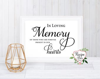 In loving memory - In loving memory wedding sign -Wedding Memorials - Remembrance Table Sign - Memorial Table - Memory Sign - Remembrance