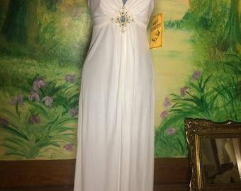 V Neck, White, Maxi Dress