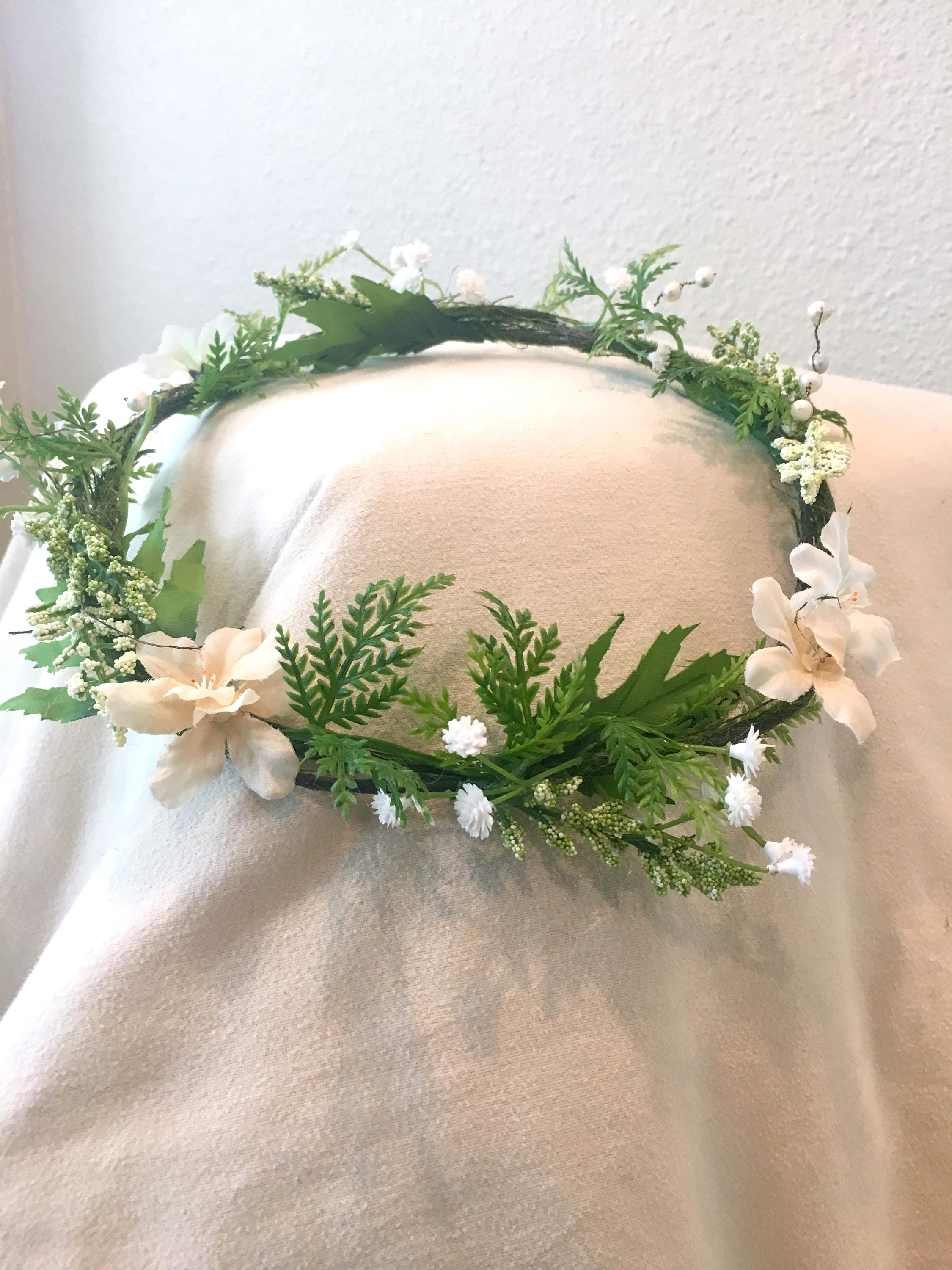 Fairy style white flower crown with real pearls fairy crown fairy style white flower crown with real pearls fairy crown headband rustic wedding izmirmasajfo