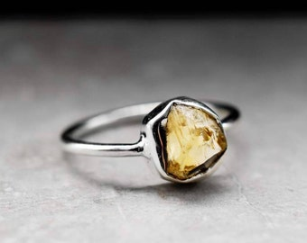 925 silver rough Citrin Ring