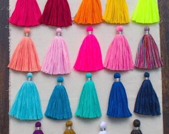 Cotton  Tassels, 4 Inch Jewelry Tassels, Boho, Mala Tassel, Decorative Tassels, Silver Thread