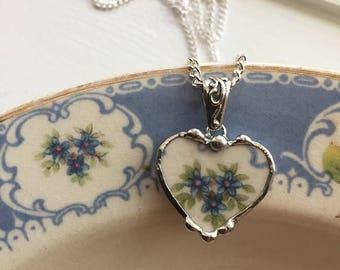 Broken china jewelry -  petite heart pendant - blue forget me nots -  broken china jewelry heart pendant necklace