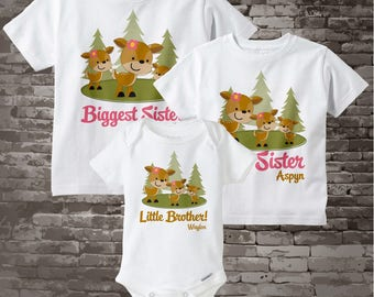 Set of Three, Biggest Sister Shirt, Big Sister Shirt, and Little Brother Onesie Set Personalized Doe and Buck 03282013a