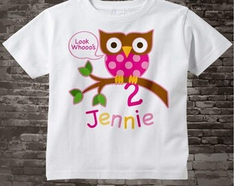 Second Birthday Owl Shirt or Onesie, Pink Girls 2nd Owl Birthday Shirt Personalized with Child's Name and age t-shirt 02022014c