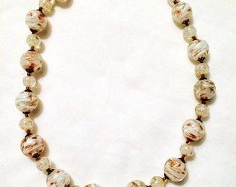 White Gold Murano Glass Necklace - Choker 1950s