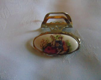 Vintage Hand Painted Lipstick Holder With Mirror