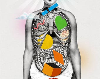 Chakras - Print - Anatomy Body of a Woman in Yoga Mindfulness Meditation - Spiritual Mind, Feminine Third Eye and Holistic Ayurveda Zen Mood