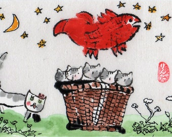 Digital Print Cats and Fish