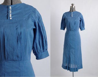 1930s vintage dress * blue cotton polka dot * tucks + details * 30s dress 5S935