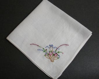 Vintage White Hanky with Petit Point Flower Basket