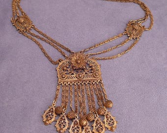 Vintage Indo Craft Tassel Necklace Victorian Etruscan Style Swags Fringe