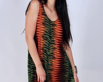 Vintage ZigZag Optical Illusion Jungle Theme Tank Swing Mini Dress