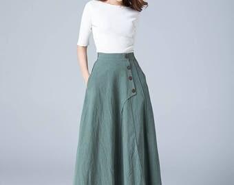 green skirt, linen skirt, full skirt, casual skirt, button skirt, skirt with pockets, womens skirt, spring skirt, long skirt, plus size 1775