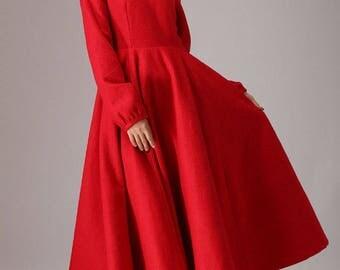 red dress, wool dress, warm dress, long sleeves dress, maxi dress, pleated dress, handmade dress, fitted dress, womens dresses (766)