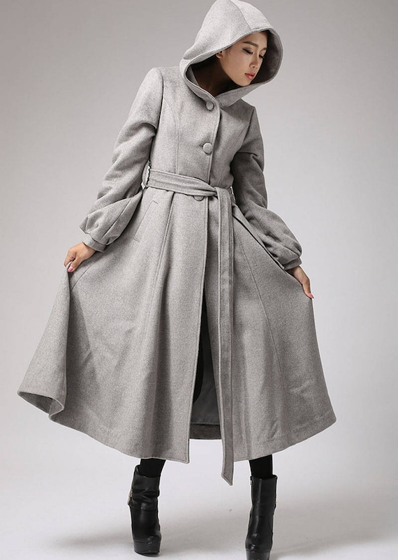 Light gray coat wool coat long coat belted coat hooded