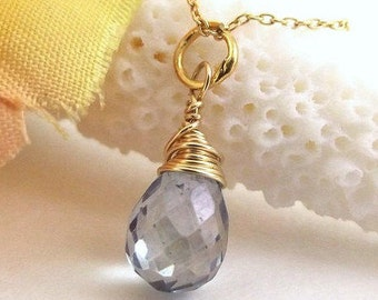 Blue Teardrop Charm ~ Blue Stone Charm ~ Add a Charm ~ Add a Dangle ~ AdoniaJewelry