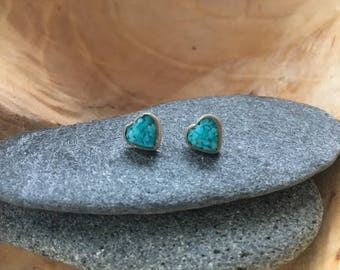 Vtg Dainty Turquoise Sterling Silver Earrings