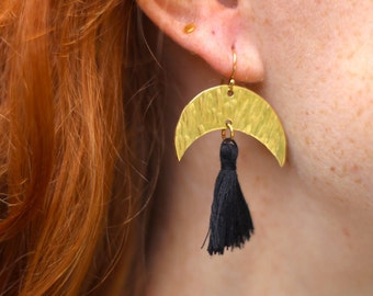 Hammered Brass Crescent with Tassel Earrings | Black or Cream