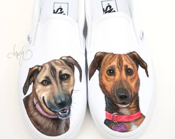 Custom Vans Shoes - Hand Painted Dog Shoes German Shepard and Labrador Portraits