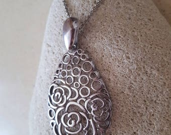 SALE...Stunning RARE Rose Scroll Drop Sterling 925 Pendant. Scrolled Sterling Silver 925 Drop Pendant. Sterling Silver 925 Scroll Drop