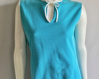 Vintage Women's 60's Polka Dot, Sleeveless, Tank Top, Polyester by Malibu (M/L)