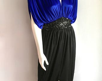 Vintage Women's 80's Cocktail Dress, Draping, Polyester, Sequins (L)