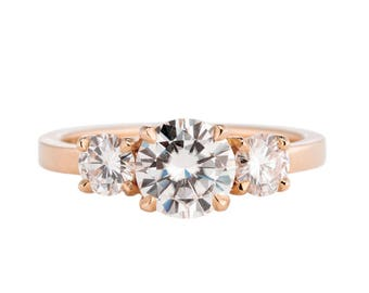 Rose Gold Engagement Ring, Moissanite Three Stone Engagement Ring, Also available in yellow gold and white gold
