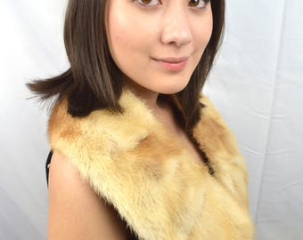 Vintage Blond Mink Fur Collar Stole Pelt