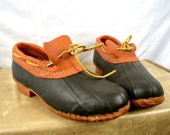 Vintage Eddie Bauer Duck Boots Leather and Rubber - Size 9