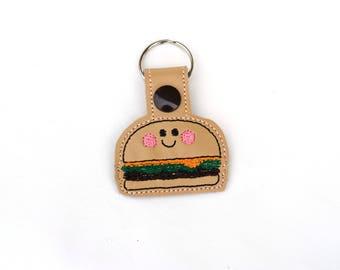 Burger Keychain | Burger Key chain | Hamburger Keychain | BFF Gift | Best Friend Gift | Secret Santa Gift | White Elephant Gift | Kawaii