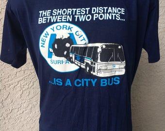 New York City Bus 1980s soft vintage t-shirt - size large/XL