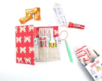 First Aid Kit - Coral Butterfly - red cross, emergency kit first aid pouch medicine bag