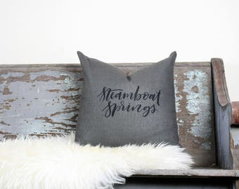 "18""x18"" Dark Gray Linen with Black Ink ""Steamboat Springs"" Pillow Cover 