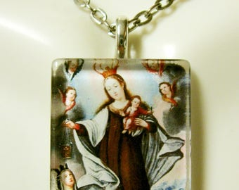 Our lady of Mount Carmel pendant with chain - GP02-117