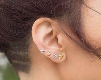 14K Tiny Spider Stud Earring