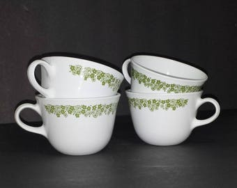 Corelle Spring Blossom Green Cups Set of 4 / 1970s Corelle Livingware Spring Blossom Green Flat Cups Set of 4